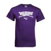 ACU Wildcat Purple T Shirt-Baseball Crossed Bats Design