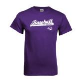 ACU Wildcat Purple T Shirt-Baseball Script w/ Bat Design