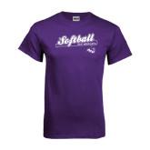 ACU Wildcat Purple T Shirt-Softball Script w/ Bat Design