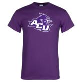 Purple T Shirt-Angled ACU w/Wildcat Head