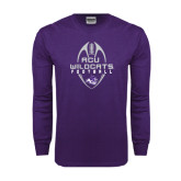 Purple Long Sleeve T Shirt-Tall Football Design