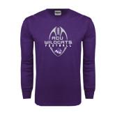 Abilene Christian Purple Long Sleeve T Shirt-Tall Football Design