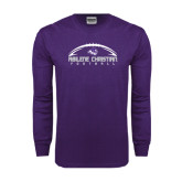 Purple Long Sleeve T Shirt-Wide Football Design
