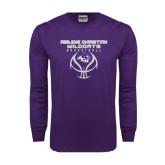Abilene Christian Purple Long Sleeve T Shirt-Design On Basketball