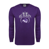 Purple Long Sleeve T Shirt-Design On Basketball