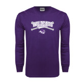 ACU Wildcat Purple Long Sleeve T Shirt-Baseball Crossed Bats Design