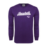 ACU Wildcat Purple Long Sleeve T Shirt-Baseball Script w/ Bat Design