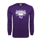 ACU Wildcat Purple Long Sleeve T Shirt-Softball Bats and Plate Design