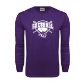 Purple Long Sleeve T Shirt-Softball Bats and Plate Design