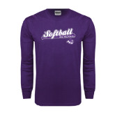 Purple Long Sleeve T Shirt-Softball Script w/ Bat Design