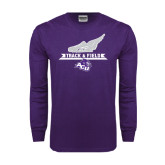 Purple Long Sleeve T Shirt-Track and Field Side Shoe Design