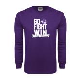 Purple Long Sleeve T Shirt-Go Fight Win
