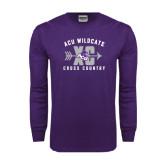 Purple Long Sleeve T Shirt-Cross Country Design