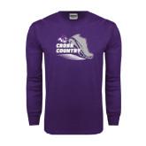 Purple Long Sleeve T Shirt-Cross Country Shoe Design