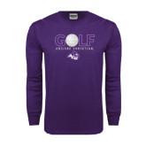 Purple Long Sleeve T Shirt-Golf Ball Design
