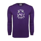 Purple Long Sleeve T Shirt-Soccer Ball Design