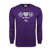 ACU Wildcat Purple Long Sleeve T Shirt-Just Kick It Soccer Design