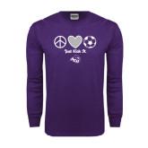 Purple Long Sleeve T Shirt-Just Kick It Soccer Design