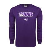 Purple Long Sleeve T Shirt-Tennis Player Design
