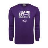 Purple Long Sleeve T Shirt-Game Set Match Tennis Design