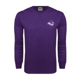 Purple Long Sleeve T Shirt-Angled ACU w/Wildcat Head