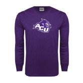 Abilene Christian Purple Long Sleeve T Shirt-Angled ACU w/Wildcat Head