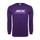 Abilene Christian Purple Long Sleeve T Shirt-ACU Wildcats