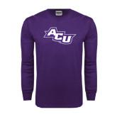 Abilene Christian Purple Long Sleeve T Shirt-Angled ACU