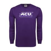 Abilene Christian Purple Long Sleeve T Shirt-Baseball