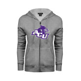 Abilene Christian Ladies Grey Fleece Full Zip Hoodie-Angled ACU w/Wildcat Head