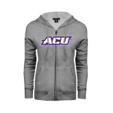 Ladies Grey Fleece Full Zip Hoodie-ACU