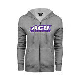 Ladies Grey Fleece Full Zip Hoodie-ACU Wildcats