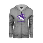 Ladies Grey Fleece Full Zip Hoodie-Grandma
