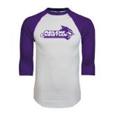 ACU Wildcat White/Purple Raglan Baseball T Shirt-Primary Logo
