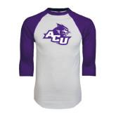 ACU Wildcat White/Purple Raglan Baseball T Shirt-Angled ACU w/Wildcat Head