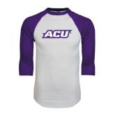 ACU Wildcat White/Purple Raglan Baseball T Shirt-ACU