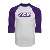 ACU Wildcat White/Purple Raglan Baseball T Shirt-ACU Wildcats