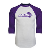ACU Wildcat White/Purple Raglan Baseball T Shirt-Primary Logo Distressed