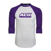 ACU Wildcat White/Purple Raglan Baseball T Shirt-Baseball