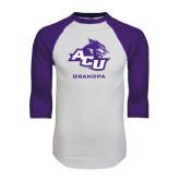 ACU Wildcat White/Purple Raglan Baseball T Shirt-Grandpa