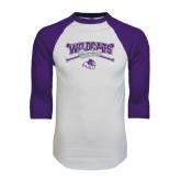 ACU Wildcat White/Purple Raglan Baseball T Shirt-Baseball Crossed Bats Design