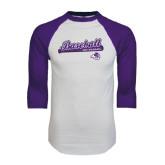 ACU Wildcat White/Purple Raglan Baseball T Shirt-Baseball Script w/ Bat Design