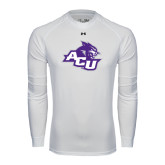 ACU Wildcat Under Armour White Long Sleeve Tech Tee-Angled ACU w/Wildcat Head