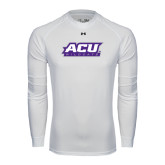 ACU Wildcat Under Armour White Long Sleeve Tech Tee-ACU Wildcats