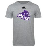 ACU Wildcat Adidas Sport Grey Logo T Shirt-Angled ACU w/Wildcat Head