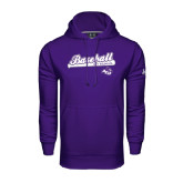 Under Armour Purple Performance Sweats Team Hoodie-Baseball Script w/ Bat Design