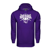 Under Armour Purple Performance Sweats Team Hoodie-Softball Bats and Plate Design