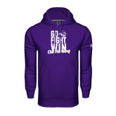 Under Armour Purple Performance Sweats Team Hoodie-Go Fight Win