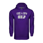 Under Armour Purple Performance Sweats Team Hoodie-Tee Off Golf Design