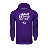 Under Armour Purple Performance Sweats Team Hoodie-Game Set Match Tennis Design